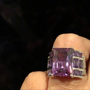Silver plated amethyst ring